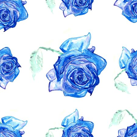blue roses: Seamless watercolor paintings with blue roses.