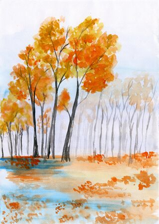 retro art: Watercolor landscape. A carpet of fallen leaves yellowed in the quiet autumn forest near the lake Stock Photo