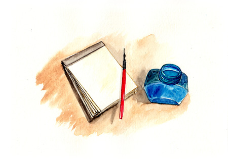 watercolor pen: Pen and ink bottle, watercolor illustration Stock Photo