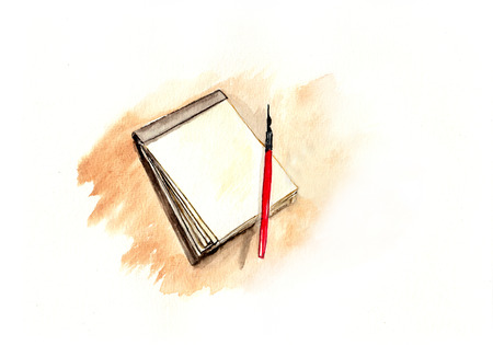 watercolor pen: Pen and notebook, watercolor illustration