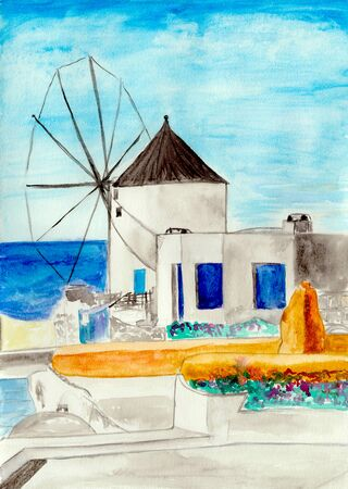 aegean: Old windmill in Oia village (Santorini island, Greece), watercolor illustration