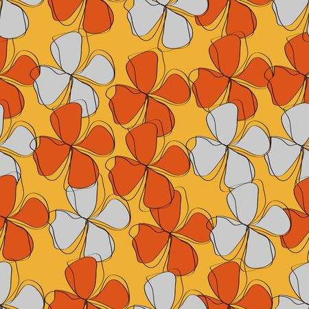gray flower: Seamless orange and gray flower pattern,vector