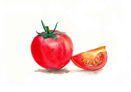 tomate cherry: Ilustración de la acuarela de los tomates Foto de archivo