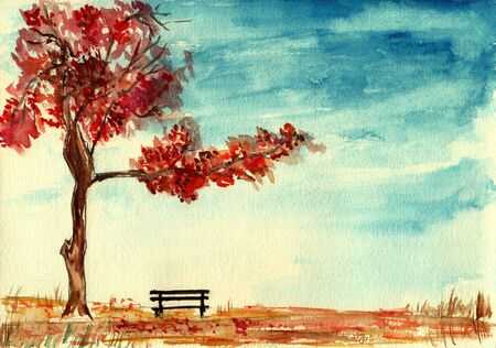 drawing trees: Tree and bench in autumn,watercolor illustration