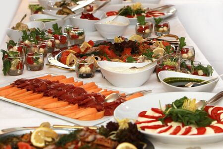tomato cocktail: buffet with fish and tomato