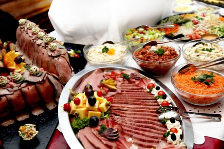 christmas catering: dine at the various buffet served appetizing Stock Photo
