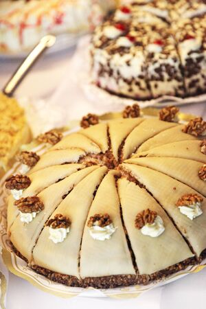 bake sale: delicious cakes and pastries in the cafe or restaurant