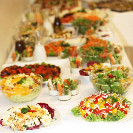 buffet of various dishes - square Stock Photo