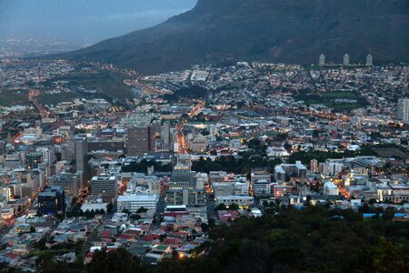 botswana: Cape Town at night - view over the city lights Stock Photo