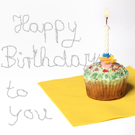 Cupcake with a candle, and text happy birthday to you - Copy Space photo