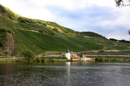 mosel: Scenic lush green landscape with a bridge across the Mosel river
