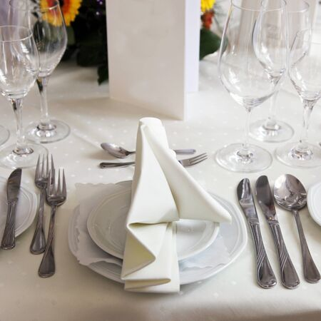 Table set for a formal dinner celebration photo