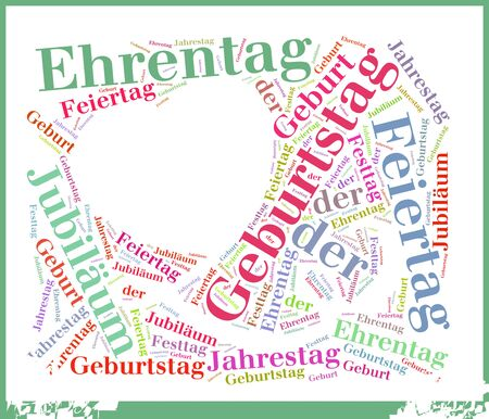 disorderly: Simple Birthday or Geburtstag Related Words in Word Tag Cloud Concept on White Background.