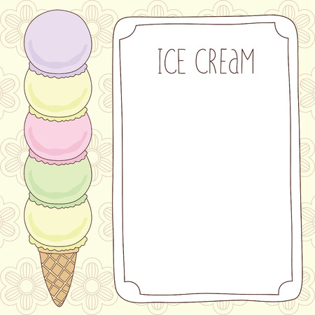 Vector Template With Stacked Ice Cream Cone On Flowers Background ...