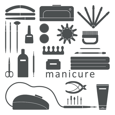 smoother: Beauty and care manicure tools and products vector icons set