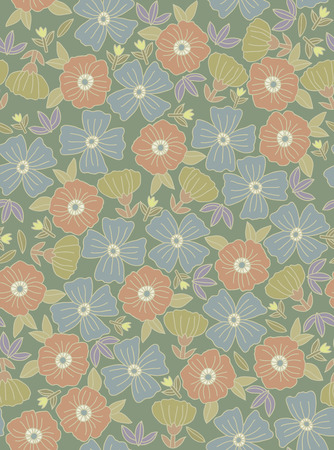 yellow daisy: Floral seamless pattern with flowers drawn by hand. Doodle floral texture.