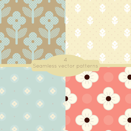 retro floral: Set of four seamless floral geometric vector patterns.