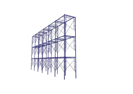 Vector of Scaffolding frame Japanese standard type isolated on white background. Can be fill dimension or other safety standard by user. Use for construction content or scaffolding vendor.