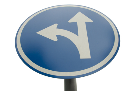 turn left: turn left and straight sign