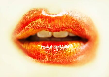 smudged lips with red lipstick Stock Photo - 11296599