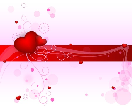heart with a pink patterned background with red ribbon Vector