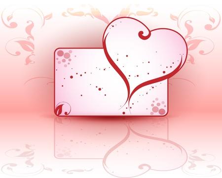Día de tarjetas de felicitación de San Valentín con el corazón en la parte superior Ilustración de vector
