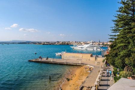 ortigia: The port of Syracuse with yachts in Ortigia island