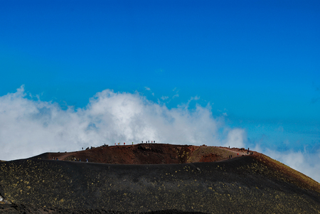 The inactive Silvestre crater on Mount Etna in Sicily at spring