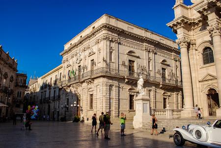 SYRACUSE, ITALY - October 06, 2012. Vermexio palace in the beautiful square at Ortigia island Editorial