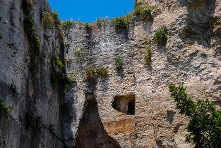 A partial view of Dionysius ear in Syracuse. Sicily
