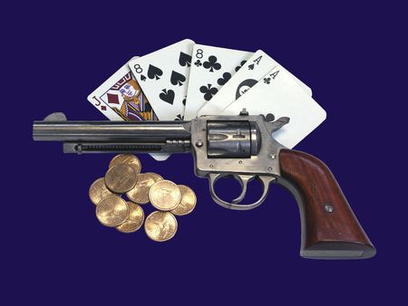 eights: Dead Mans Hand, isolated on blue