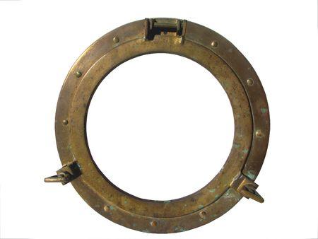 the hole: Bronze porthole isolated on white