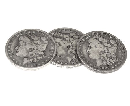 circulated: three horizontal old silver dollars, liberty head