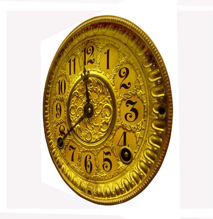 inlay: Antique gold clock face from right