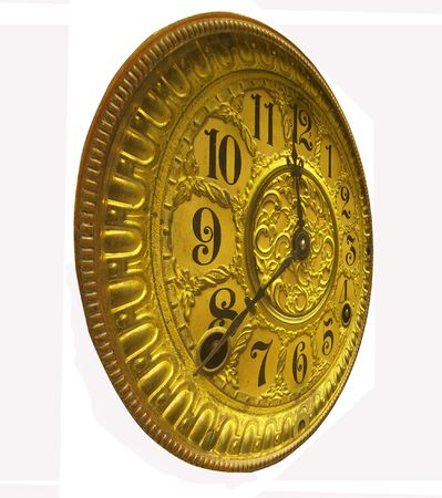 antique gold clock face from left