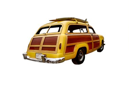 early 50s era woody station wagon, popular with surfers and collectors                               Stock Photo