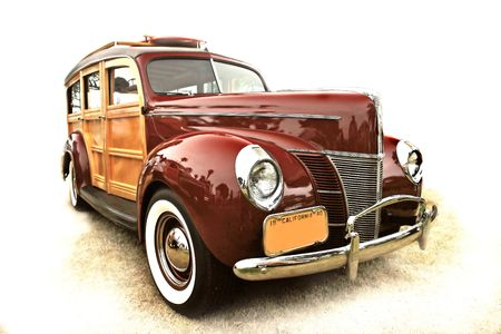 surfers: 40s vintage woody station wagon, popular with surfers and antique collectors
