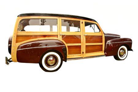 carreta madera: 40 de la era de woody Ranchera, popular entre los coleccionistas y los surfistas Foto de archivo