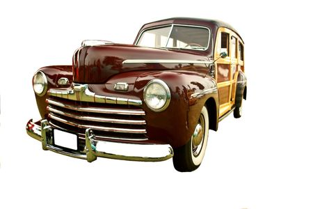 beautifully restored vintage woody station wagon, maroon, isolated on white