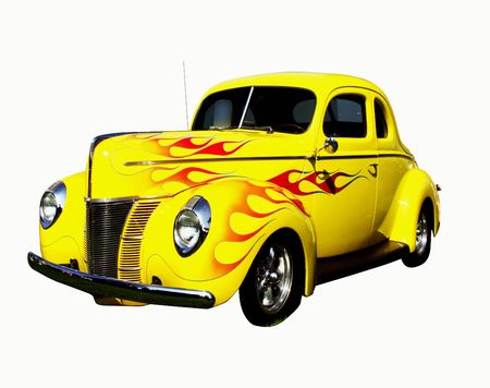 street rod: flamed yellow coupe hot rod, isolated on white