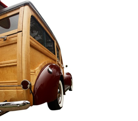 restored: Completely restored 1940s vintage woody, popular with surfers and collectors         Stock Photo