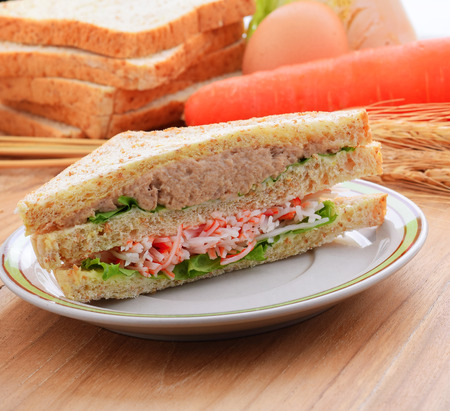 tuna mayo: Crab , tuna sandwiches