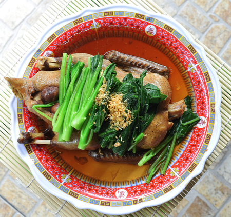 pot-stewed duck in plate Stock Photo