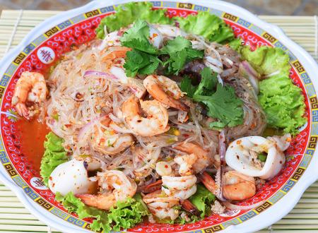 spicy noodle salad, spicy vermicelli salad (yum woon sen)