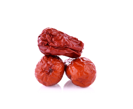 Dried red date or Chinese jujube on white background Stock Photo