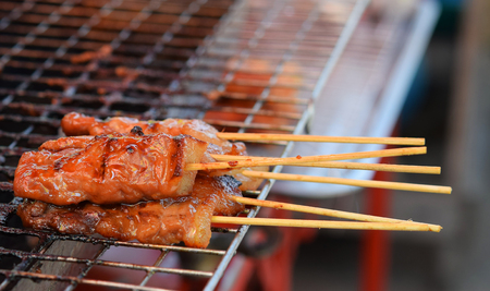 Bamboo skewer grilled pork Stock Photo