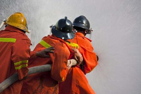 smoke alarm: firefighter training exercise
