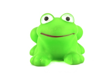 green frog toy on white background Stock Photo - 11943615