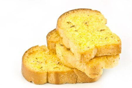 garlic bread on a white background  photo