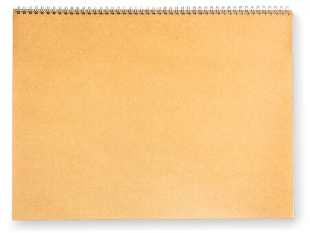 Blank brown paper scrap book isolated on white photo